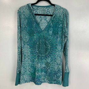 2 for $20 Prana Burnout Hooded Paisley Printed Top